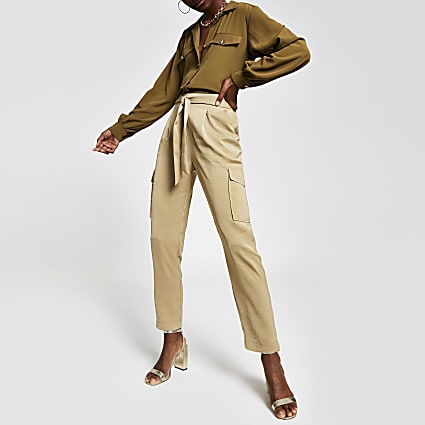 Beige satin utility trousers