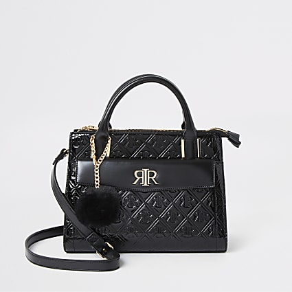 Black RI embossed front pocket tote bag