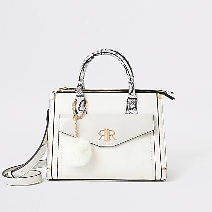 Cream snake print front pocket tote bag