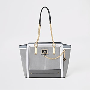 Grey chain front winged tote bag