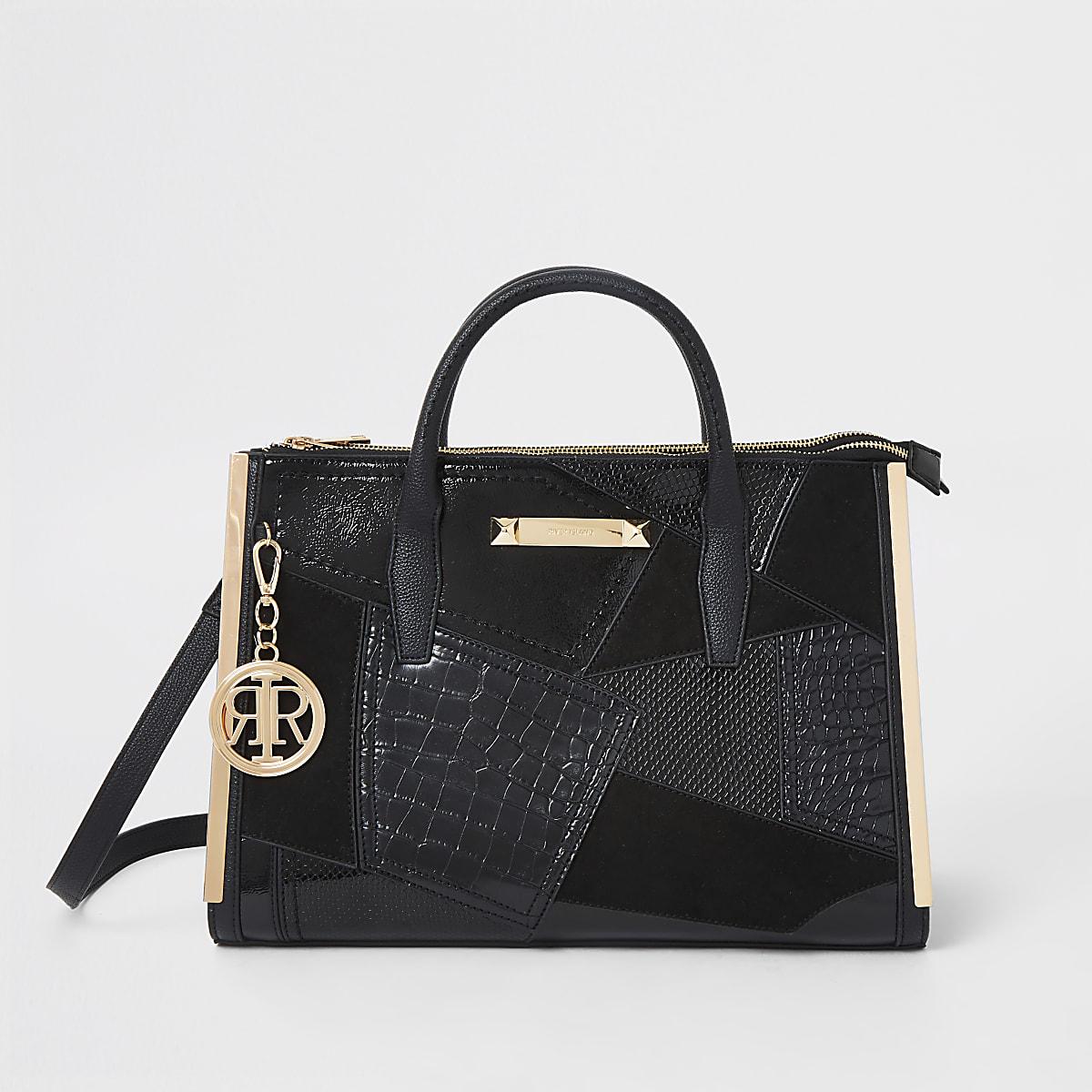 Zwarte shopperhandtas met vlakken