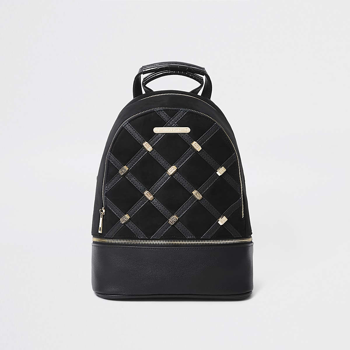 Black quilted and stud backpack