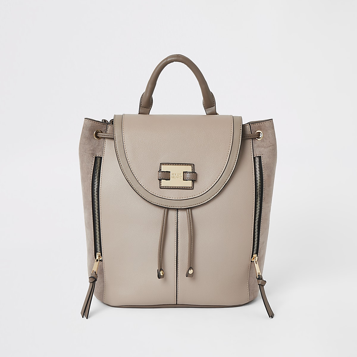 Light beige mink fold over backpack