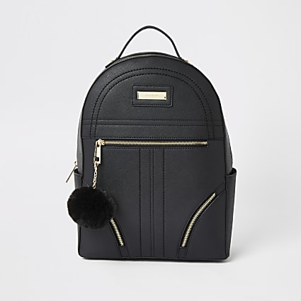 Black zip front backpack