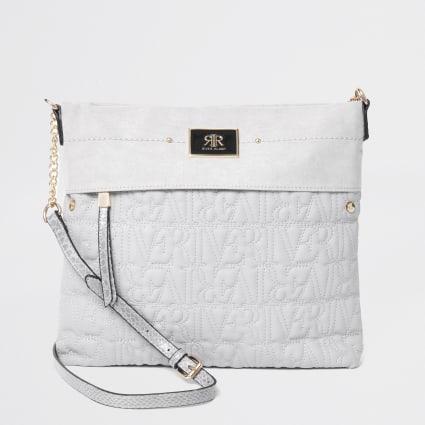 Grey RI stitch messenger bag