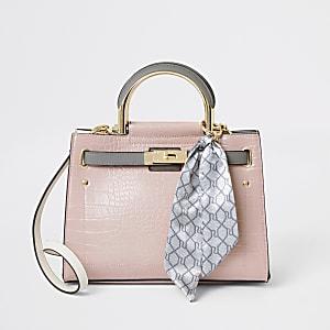 Pinke Tote-Bag im Kroko-Stil mit Schloss und RI-Tuch