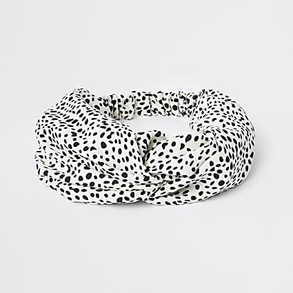White polka dot knot front headband