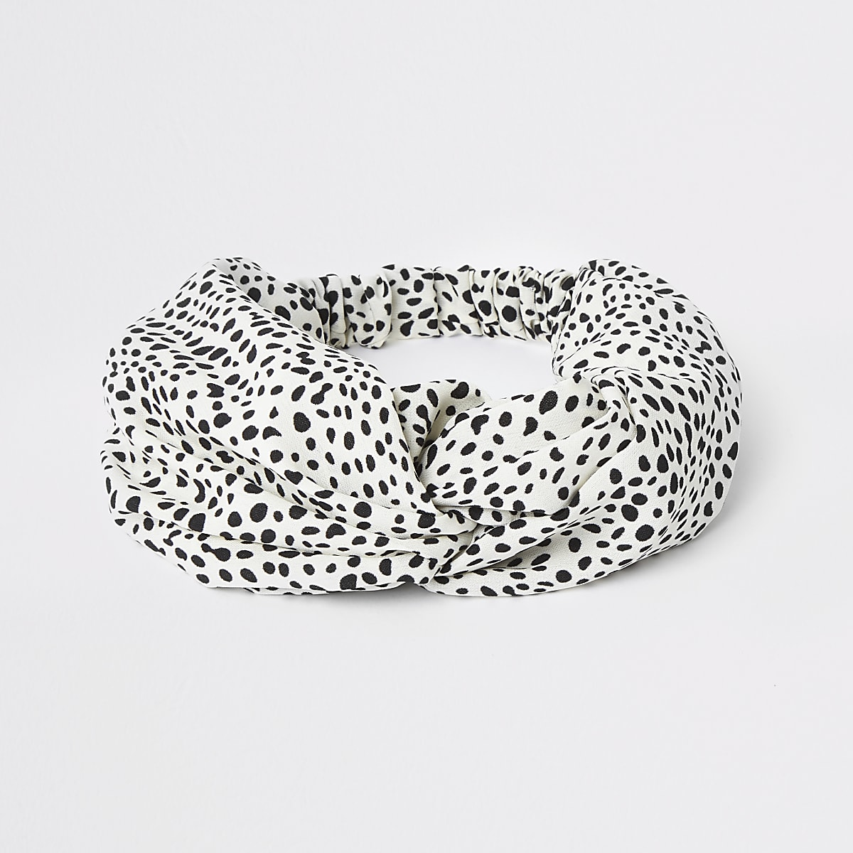 White polka dot knot front headband