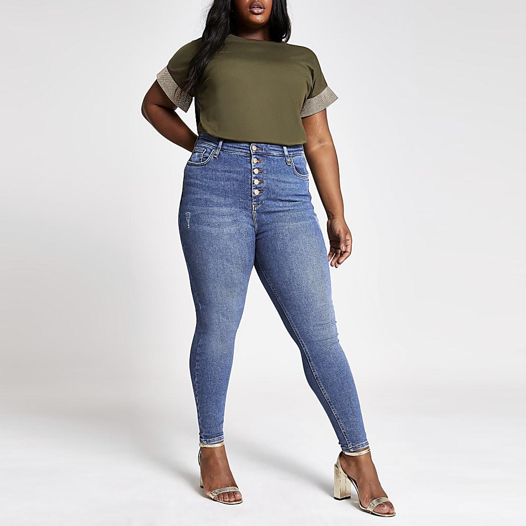 Plus – Hailey – Jean ultra skinny taille haute bleu