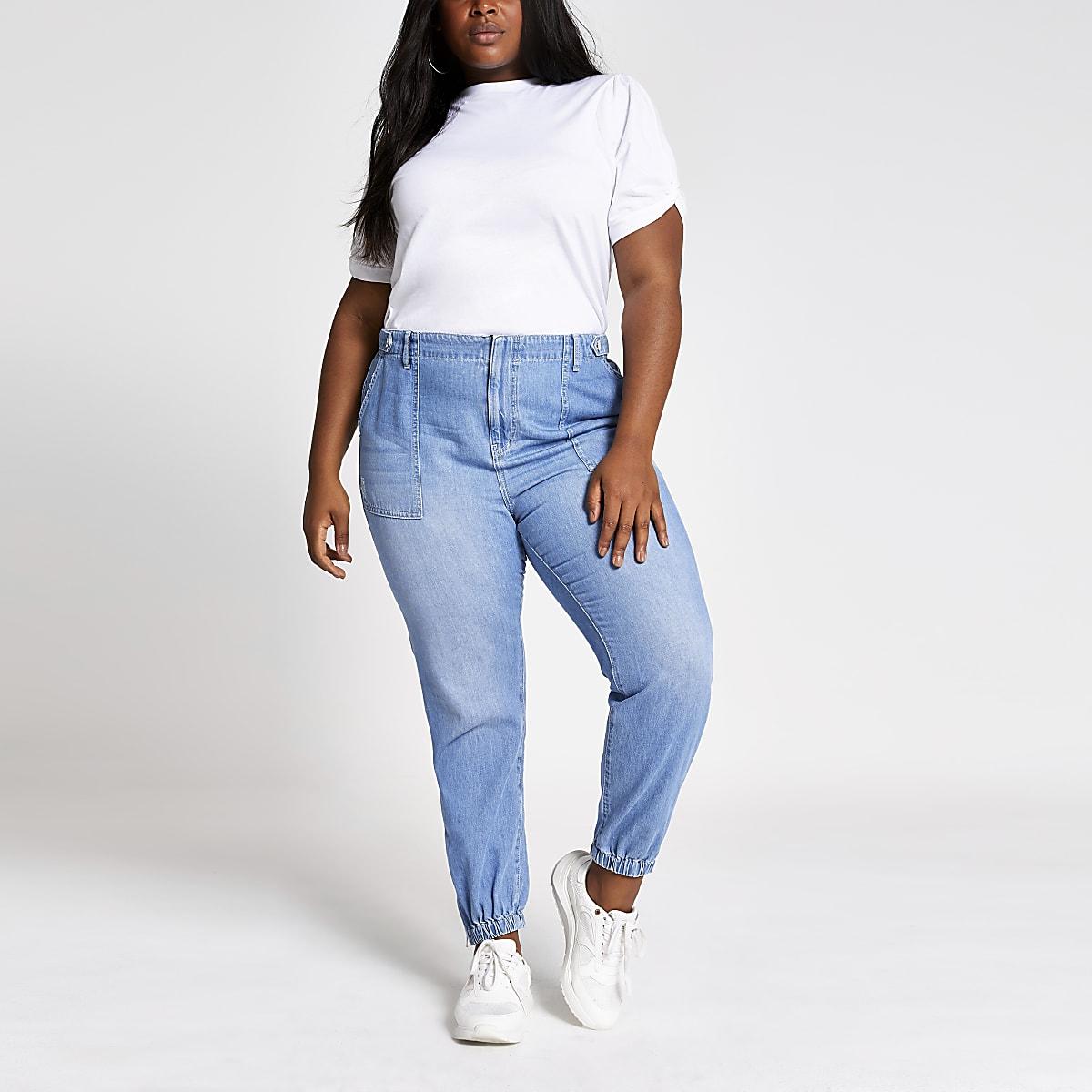 Plus – Pantalon de jogging en denim bleu moyen