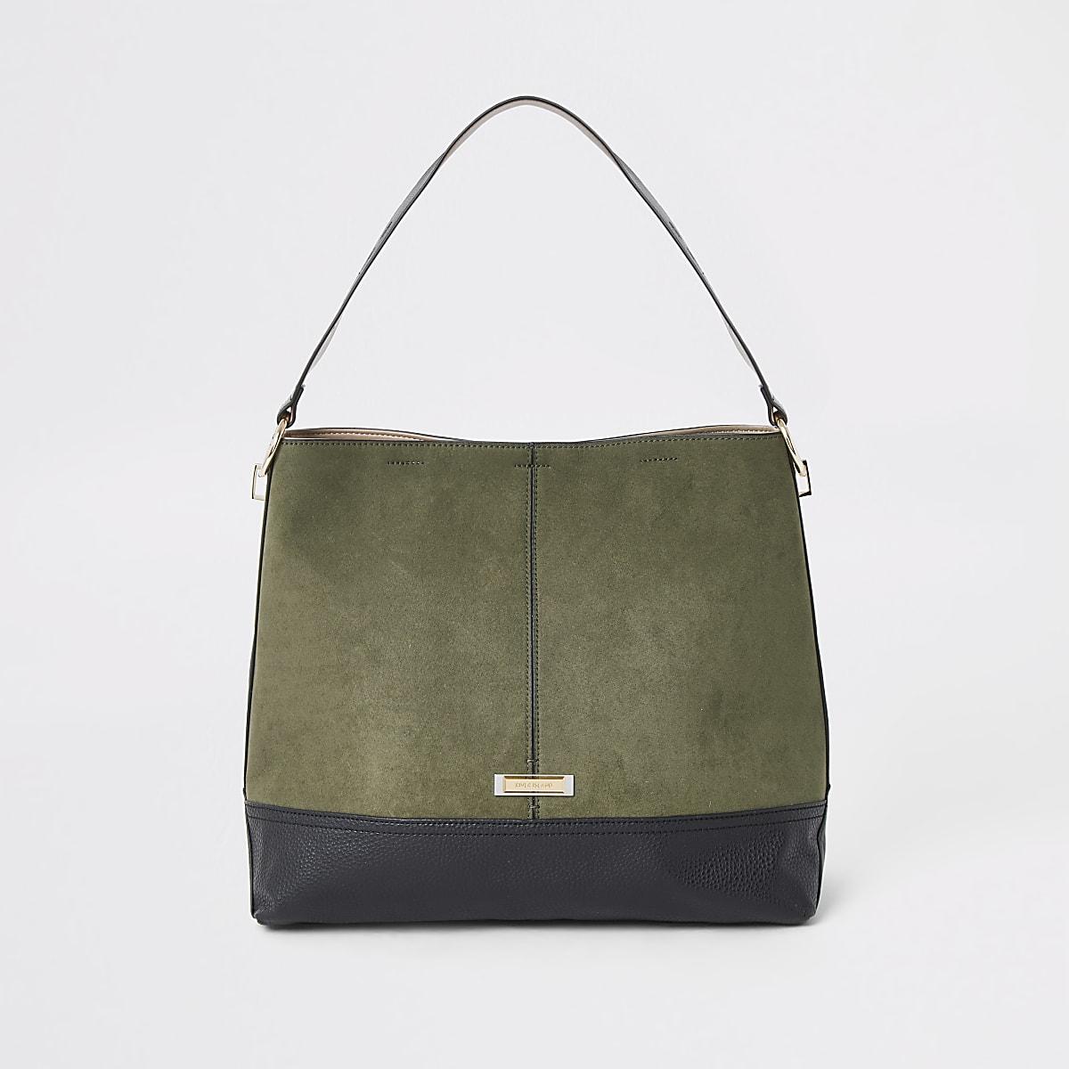 Khaki contrast faux suede slouch bag