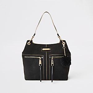 Black croc embossed zip front slouch bag