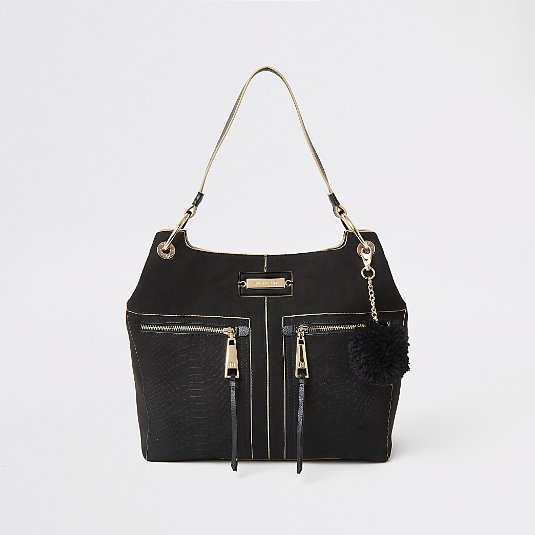 Black croc embossed zip front slouch bag