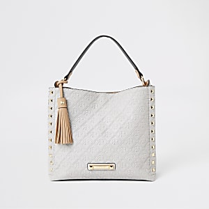 Grey RI monogram chain slouch bag