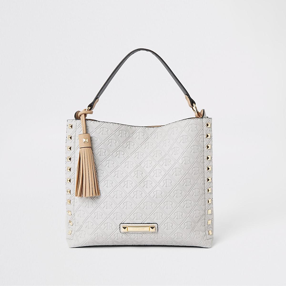 Grey RI monogram chain slouch bag