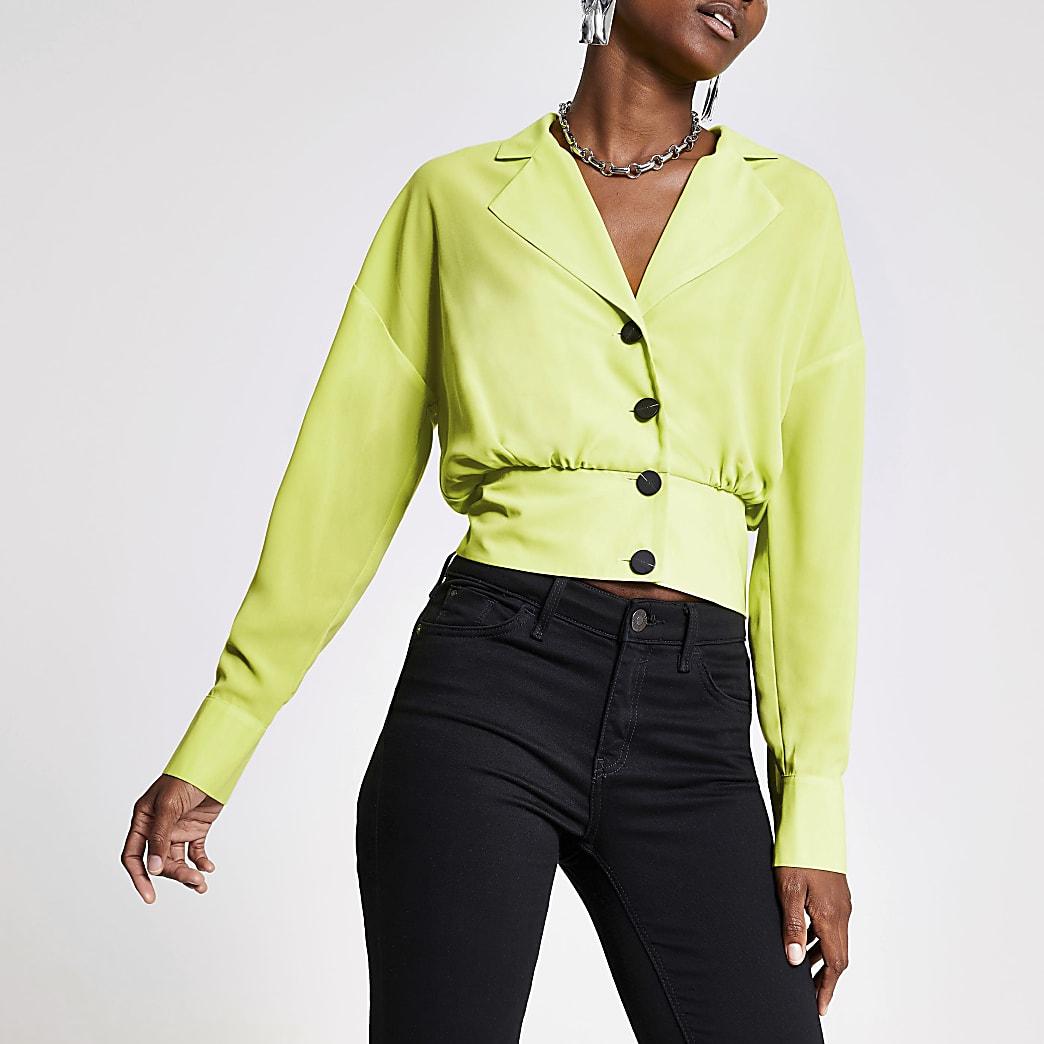 Veste chemise verte à manches longues