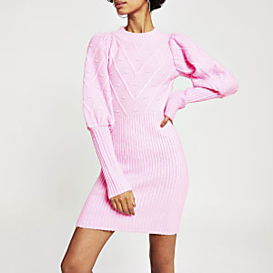Bright pink long puff sleeve knitted dress