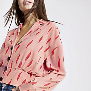 Roze shacket met print