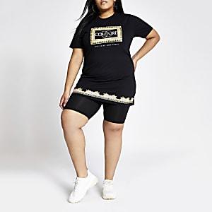 Plus – T-shirt imprimé fluo noir