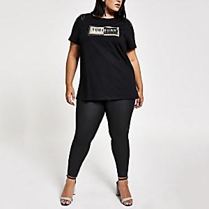 RI Plus - Zwart verfraaid T-shirt met print op de schouder
