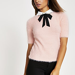 Pink embellished collar fluff knitted top