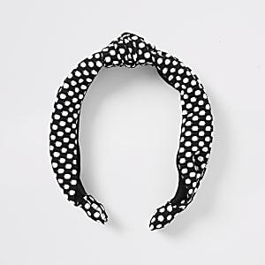 Schwarzes Haarband mit Punkten