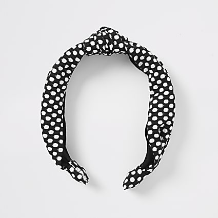 Black polka dot headband