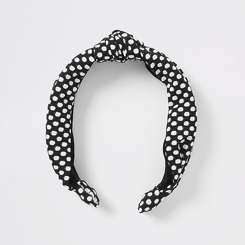 Black polka dot headband