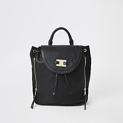 Black fold over backpack