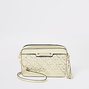 Gold RI monogram boxy cross body bag
