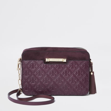 Dark red RI monogram cross body