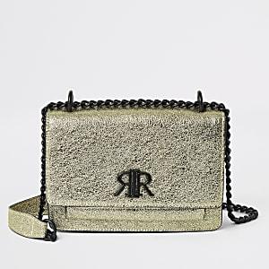 Goudengetextureerdesatcheltas met RI-logo om onder de arm te dragen