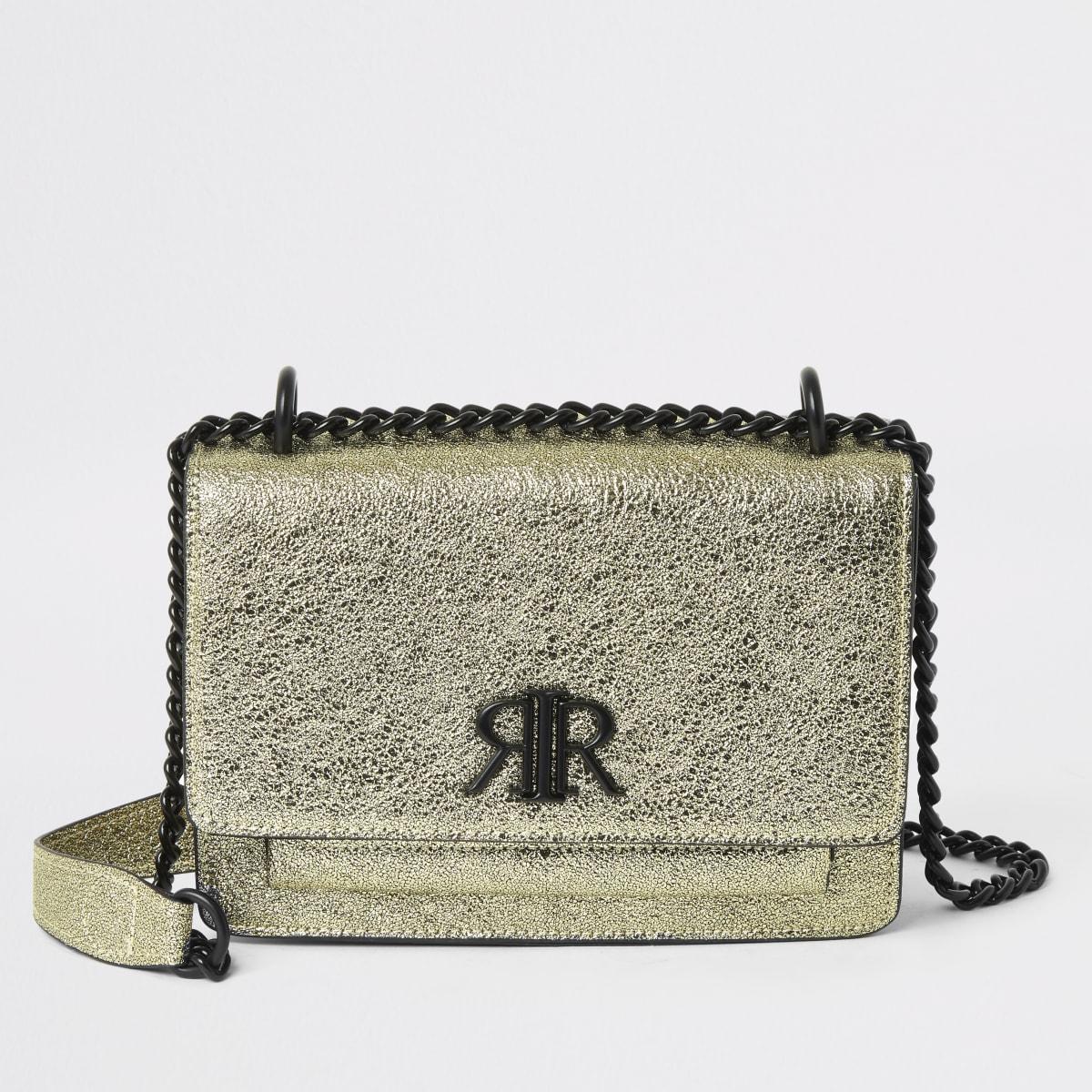 Goldene, strukturierte Satchel-Tasche von RI
