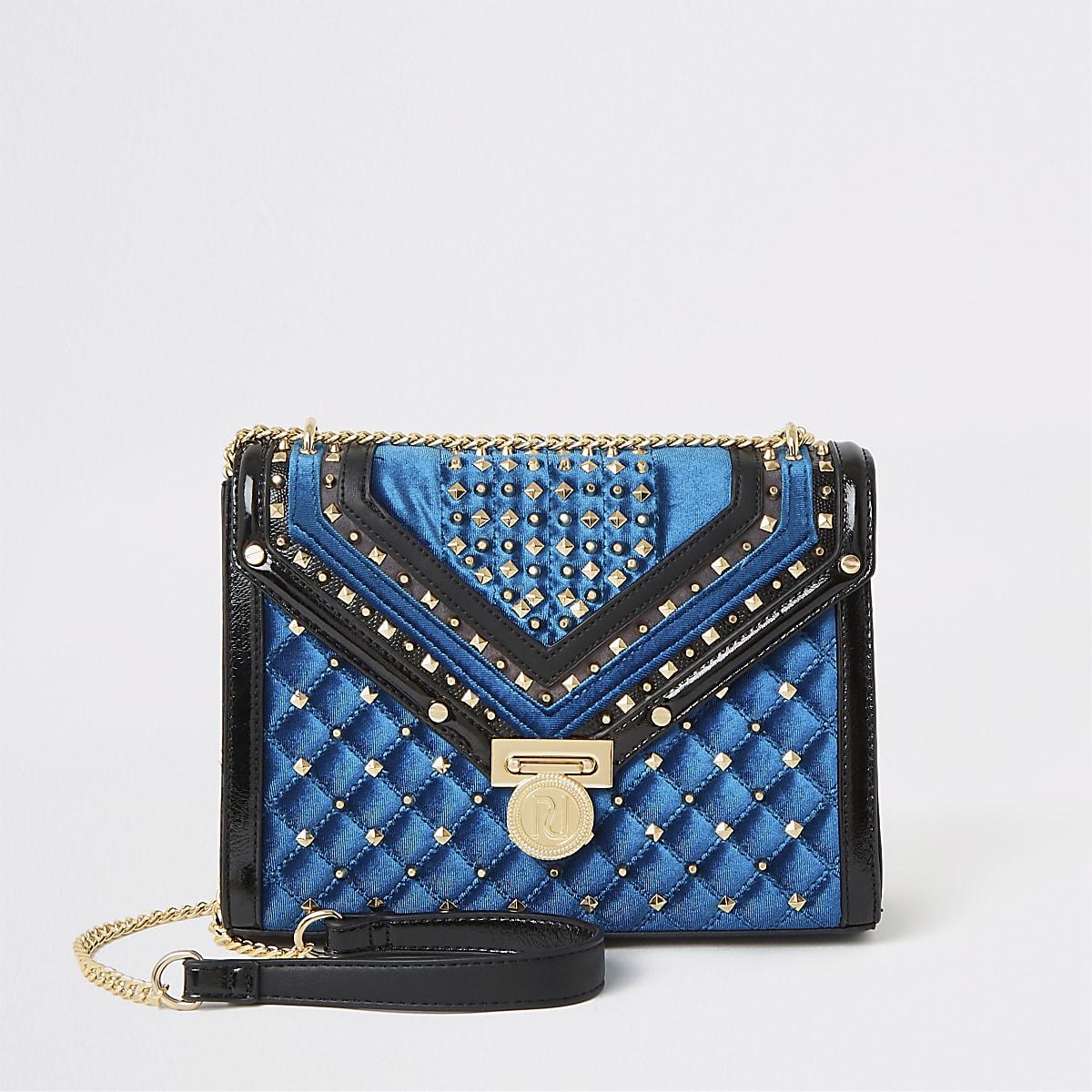 Marineblauwe doorgestikte crossbodytas met studs