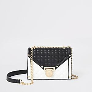 Zwart met witte gewatteerde crossbodytas