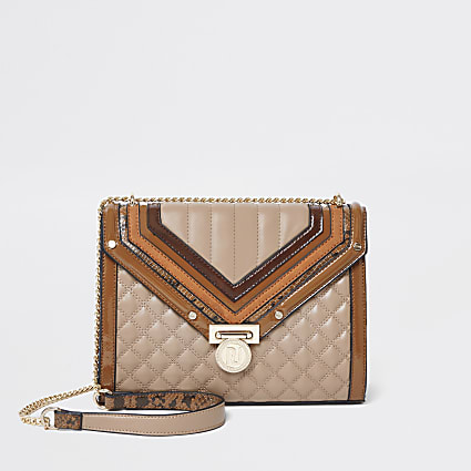 Dark beige and tan quilted cross body bag