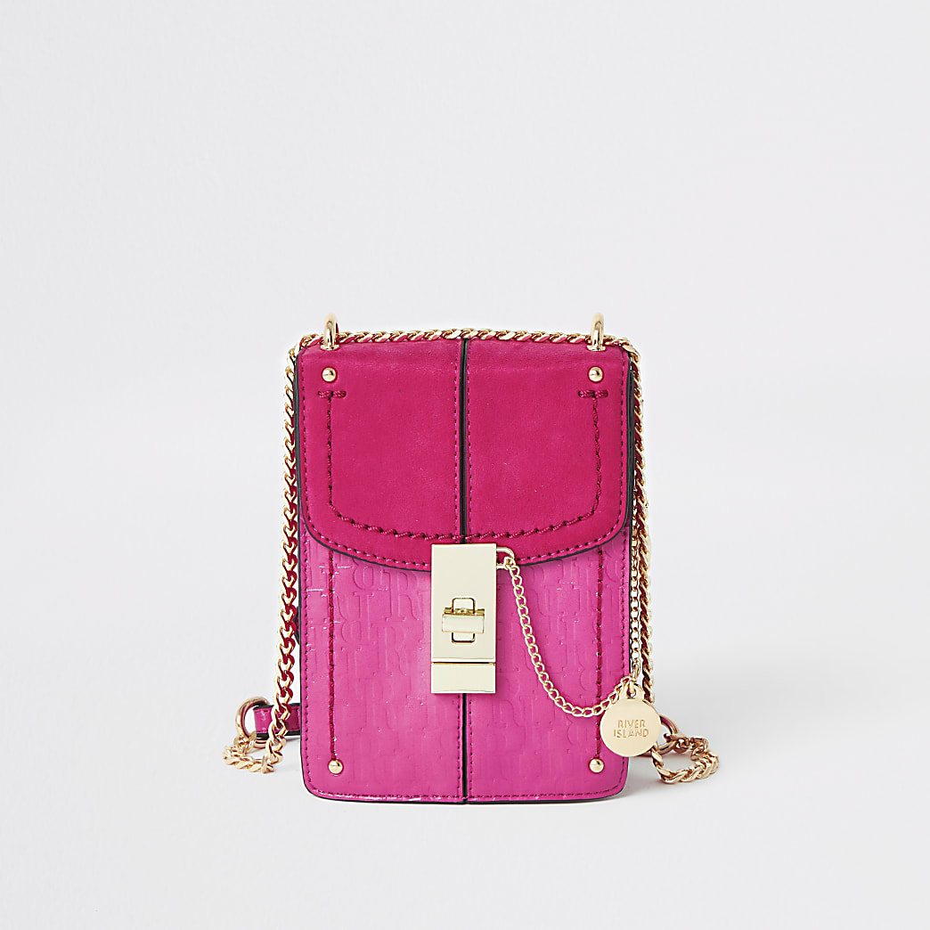 Pink RI monogram lock front cross body bag