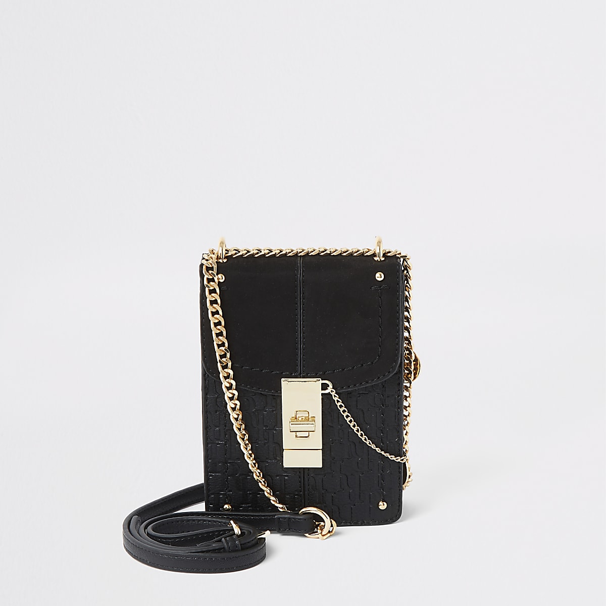 Black RI monogram lock front cross body bag