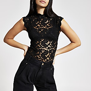 Black lace high neck top