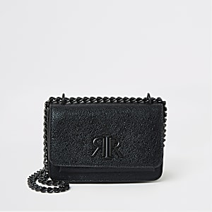 Black textured RI underarm mini satchel bag