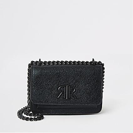 Black textured RI underarm mini satchel bag