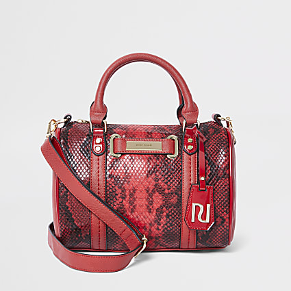 Red snake mini bowler bag