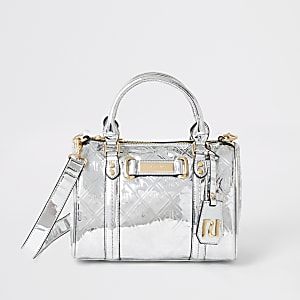 Silver RI embossed cross body bag