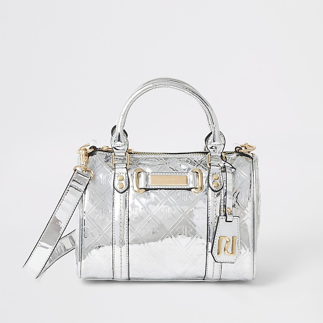 Silver RI monogram print mini bowler bag