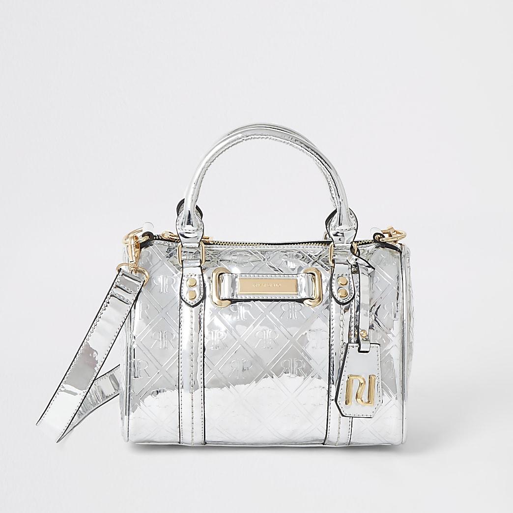 Silberne Mini-Bowler-Tasche mit aufgedrucktem RI-Monogramm