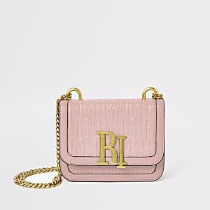 Mini sac à bandoulière rose clair à logo RI en relief