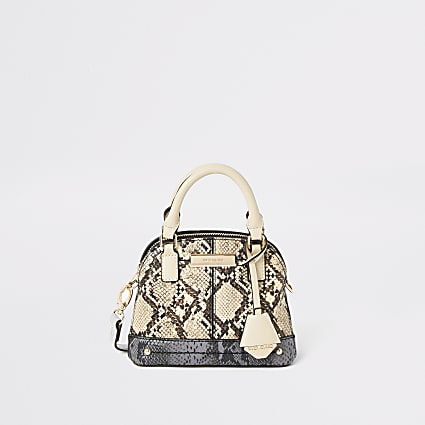 Brown snake print mini cross body bag