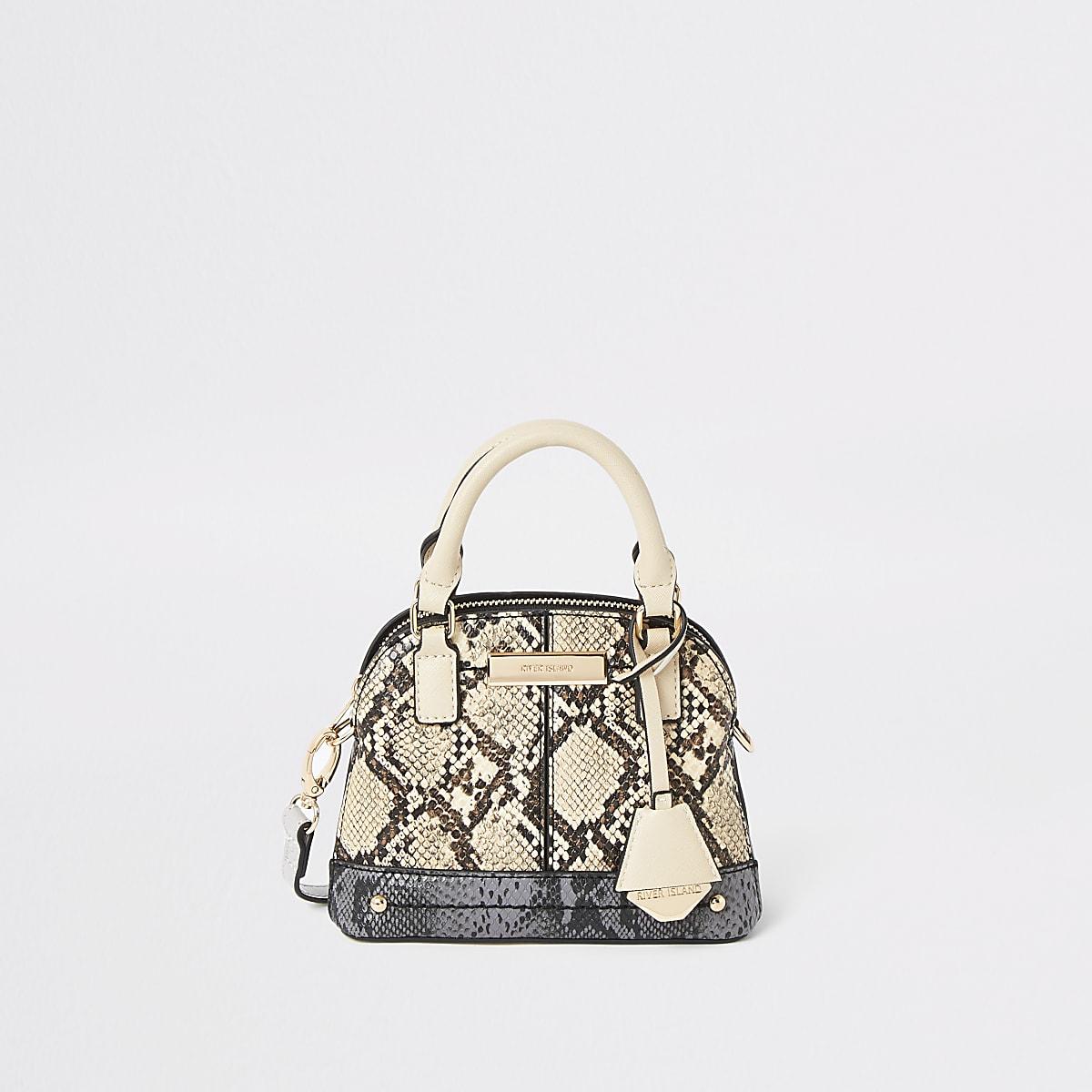 Mini sac bandoulière à imprimé serpent marron