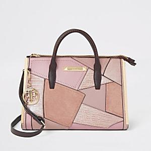 Roze grote handtas met panelen