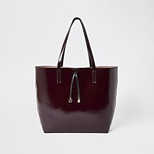 Donkerrode vinyl shopper-handtas